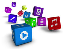Music And Audio Web Icons Cubes Concept Stock Images