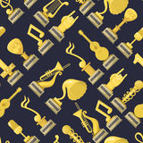 Music award best entertainment winner achievement victory vector illustration seamless pattern.  Royalty Free Stock Images