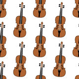 Music Backdrop Violin Seamless Pattern. A musical seamless pattern with violins, isolated on white background. Useful also as design element for texture, pattern Stock Image