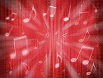 Red Music Notes Background