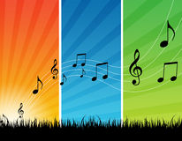 Music background. Colorful background with black color music notes. good for web backgrounds etc Royalty Free Stock Photo