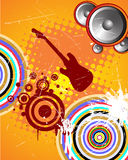 Music background. Vector illustration of an e-guitar on a colorful baqckground Stock Image