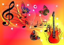 Music background. Illustration music background with guitar butterfly and fire Royalty Free Stock Photography