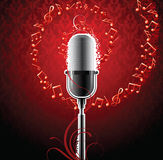 Music background. Red music background with microphone and notes vector illustration