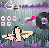 Music background. With girl pourtrait, equalizers and other music design elements vector illustration