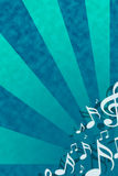 Music background. Blue/green background with musical theme Stock Images