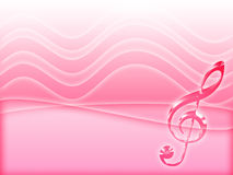 Music background. Pink music background with treble clef Stock Photo