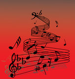 Music background. Abstract music background with different notes and lines Stock Photography