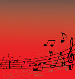 Music background. Abstract music background with different notes and lines Royalty Free Stock Photography