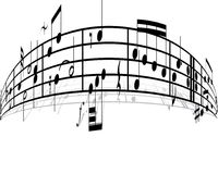 Music background. With different notes on the white vector illustration