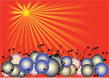 Music Background. A background in red tones with discs and notes Stock Photo