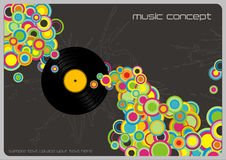 Music background. Retro music background with colorful bubbles and vinyl record (linework behind is complete, therefor also usable without record Stock Photography