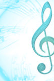 Music background. Bright blue clef for music poster Stock Photos