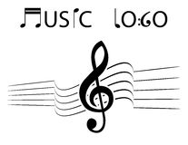 Music background. Black music on the white background Stock Photo