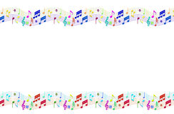 Music Background. Music symbol and notes on blue color background Stock Photo