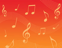 Music background. Music notes on red and orange background illustration Stock Photos