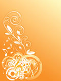 Music background. Music notes with floral elements - vector illustration Stock Photography