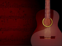 Music Background. Vector background with acoustic guitar and musical notes Stock Images