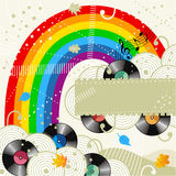 Music background. Rainbow and vinyl records music background or disc cover template with autumn leaves and copy space Stock Photography