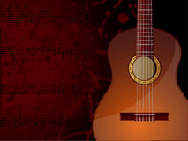 Music Background. Vector background with acoustic guitar and musical notes Royalty Free Stock Photo
