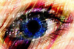 Music background with abstract eye Royalty Free Stock Image