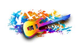 Music background with electric guitar, musical notes and flying birds Digital watercolor painting. Music background with acoustic guitar, musical notes and Royalty Free Stock Photography
