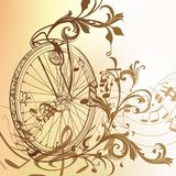Music background with bike wheel, notes and swirls in vintage st Royalty Free Stock Image