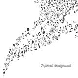 Music Background in Black and White. Vector Illustration of a musical themed background with Black and White colors Stock Photo