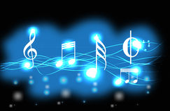 Music Background. A blue and black background with music notes vector illustration
