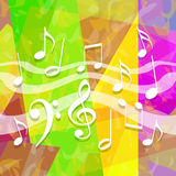 Music background. Bright colorful music background with dancing musical symbols Royalty Free Stock Images