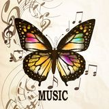Music background with butterfly Stock Photography