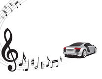 Music background and car. Music background and sports car Stock Images