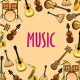 Music background with classic, ethnic instruments Royalty Free Stock Images