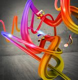 Music background. With colored streaks and notes stock images