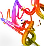Music background. With colored streaks and notes stock photography