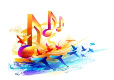 Music background with 3d notes and flying birds. Vector illustration stock illustration