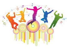 Music background with dancing people. Detailed silhouettes of dancing teenagers. Concept background Vector Illustration