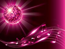 Music background with disco ball and notes Stock Photography