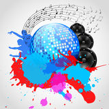 Music Background with Discoball, Speakers and Spots - Vector Arkivfoton