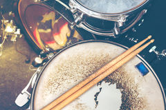 Music background.Drumkit on stage lights performance stock photography