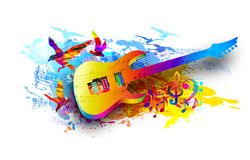 Music background with electric guitar, musical notes and flying birds Digital watercolor painting. Music background with acoustic guitar, musical notes and Royalty Free Stock Photo