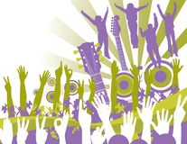 Music background with fans. A background with music and fans in purple and green royalty free illustration