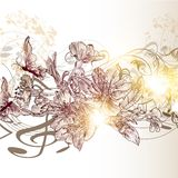 Music  background with flowers and notes Royalty Free Stock Photos