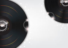 Music Background with Glow vinyl plates Royalty Free Stock Photography
