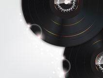 Music Background with Glow vinyl plates Stock Photo
