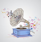 Music background with gramophone and notes. Stock Images