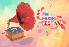 Music background with gramophone and notes. Vector royalty free illustration
