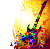 Music background with guitar. Colorful music background, banner with guitar,treble clef, music notes and birds royalty free illustration