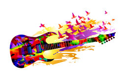 Music background with guitar. Colorful music background painting with guitar and birds royalty free illustration