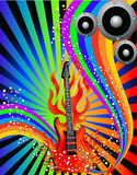 Music background with guitar and rainbow Stock Photography